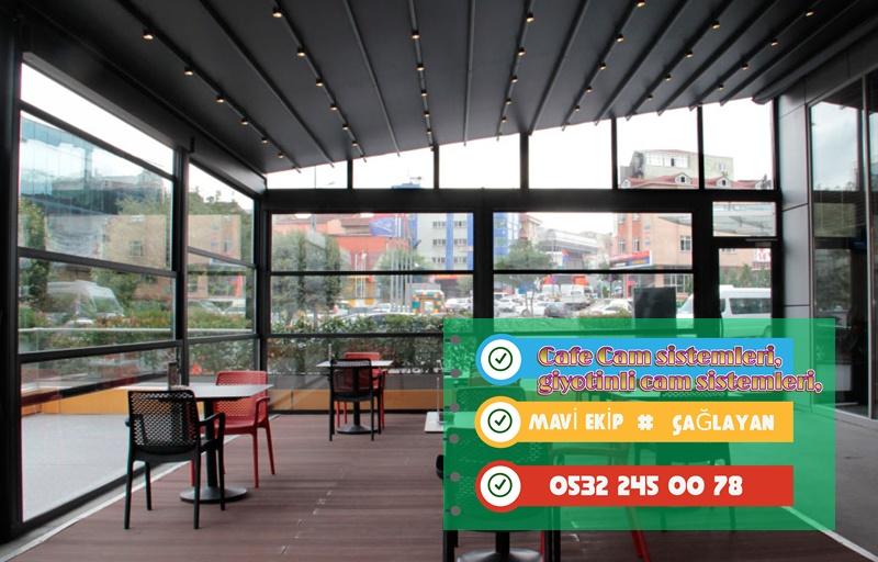 Cafe Cam sistemleri, giyotinli cam sistemleri, Cam ile kapama. MAVİ CAM 0532 245 0078